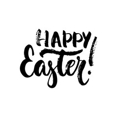 Happy Easter - Spring Holidays hand drawn lettering calligraphy phrase isolated on white background. Fun brush ink vector illustration for banners, greeting card, poster design, photo overlays.
