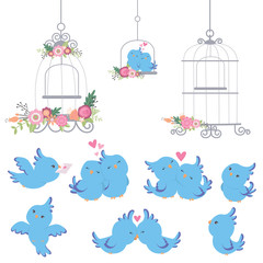 Cute Little Blue Parrots Love Birds Set with Vintage Cages and Flowers Valentines Day Wedding Design Elements Flat Color Vector Illustration Isolated on White