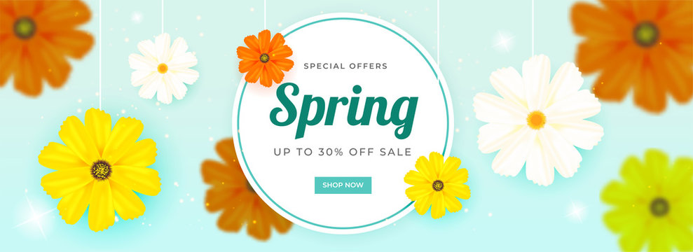 Header or banner design decorated with colorful flowers and 30% discount offer for Spring Sale.