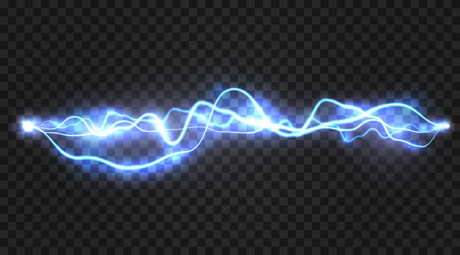 Realistic electric discharge, energy flow or lightning blast isolated on transparent background. Vector illustration.