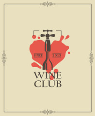 wine club emblem with bottle and corkscrew in frame