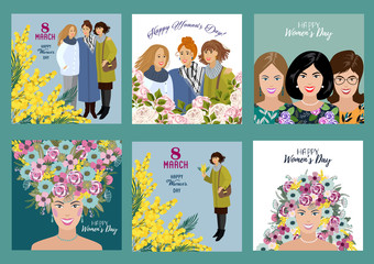 8 March. Happy womens day. Set Templates for card, poster, flyer and other users