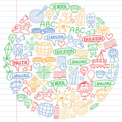 Vector set of learning English language, children's drawingicons icons in doodle style. Painted, colorful, pictures on a piece of linear paper on white background.