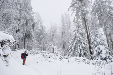 Fototapete - Young hiker taking pictures of a snow covered forest