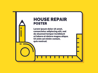 House repair. Poster design services for building maintenance.
