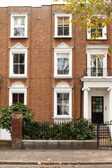 Front of a house at London street in autumn.