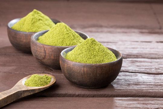 Extract of stevia powder - Stevia rebaudiana. Text space