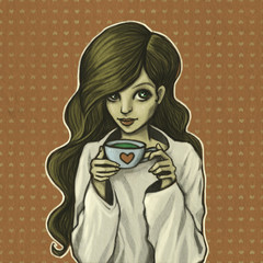 The young girl with brown hair with a cup of coffee or tea. Woman drinking drink. Modern illustration.