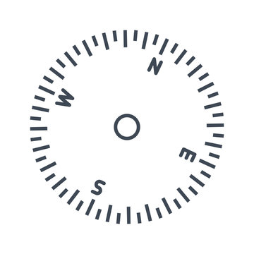 thin line icon airplane, ship instrument, compass