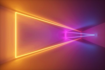 3d rendering, yellow pink neon light, abstract ultraviolet background, dynamic glowing lines, psychedelic stage, vibrant colors, empty room, tunnel, corridor, night club interior