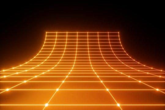 3d render, orange neon light, abstract ultraviolet background, laser grid, virtual network, glowing lines