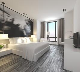 3d render luxury hotel bedroom