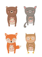 Vector collection of cartoon cute animals with flower wreath