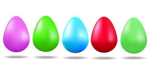 Vector. Set of painted eggs. Easter. Spring