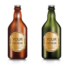 Set of realistic green and brown blank glass beer bottle with labels on a white background.