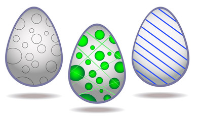 Stylish vector set of decorated eggs isolated on white background. Vector.