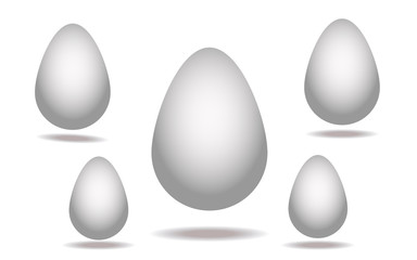 White eggs isolated on white background. Vector set.