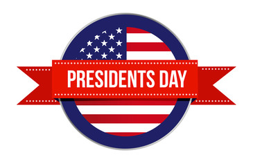 Presidents day US flag seal and ribbon icon illustration design