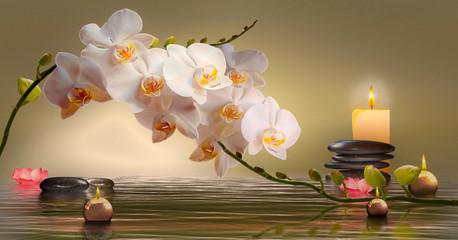 Foto auf Acrylglas Orchideen Wandbild mit Orchideen, Steinen im Wasser und schwimmenden Kerzen