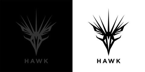 Abstract style eagle logo template design. Predator bird black hawk icon. Falcon raptor emblem sign. Vector illustration. Wall mural
