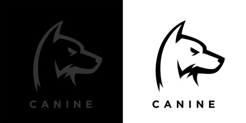 Abstract style guard dog logo template design. Canine hound icon. Concept wild wolf sign. Vector illustration.
