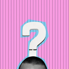 man and question mark, contemporary art collage