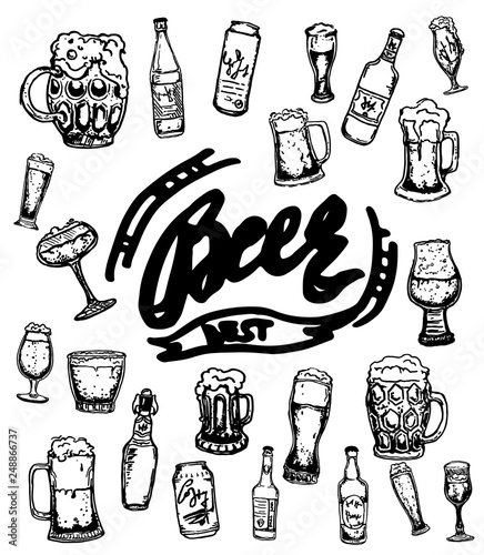 Set Of Beer Objects Hand Drawn Illustration Set Of Craft Beer