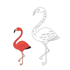 drawing worksheet for preschool kids with easy gaming level of difficulty. Simple educational game for children. Illustration of flamingo for toddlers