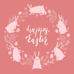 Card with Cute Easter Rabbits and Eggs on Pink Background