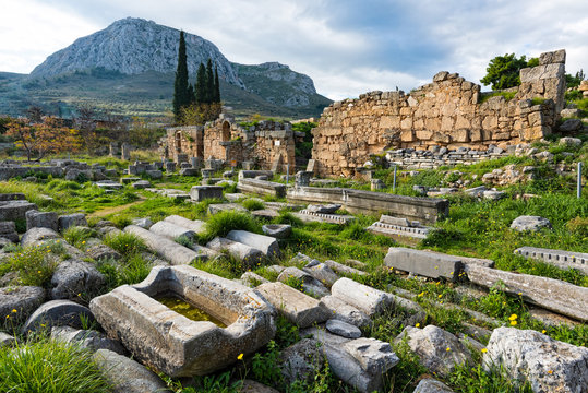 Part of the archaeological site of ancient Corinth in Peloponnese, Greece