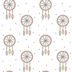 cute cartoon flat seamless vector pattern background illustration with native american indian dream catcher