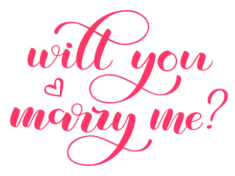 Will you marry me lettering. Vector illustration