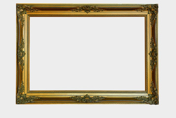 Ornamental wooden gold frame isolated with clipping path