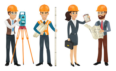 Civil engineer, surveyor, architect and construction workers isolated illustration.