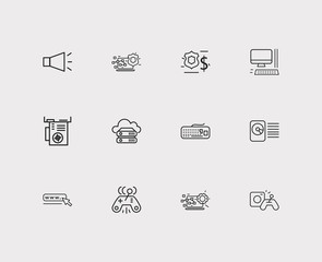 Electronics icons set. Cloud storage and electronics icons with keyboard, bullhorn and cyber security. Set of push for web app logo UI design.