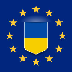 European Union & Ukraine flags shield sign illustration concept