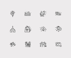Romance icons set. Broken heart and romance icons with gramophone, butterflies, candies. Set of person for web app logo UI design.