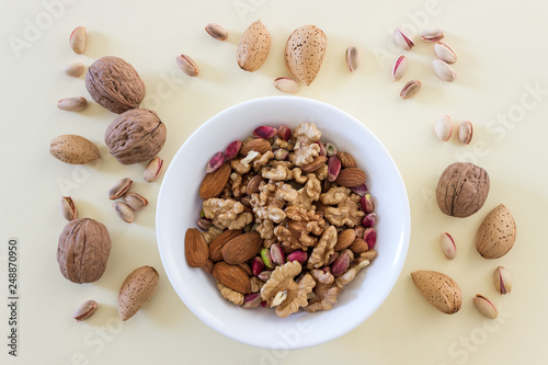 Different types of nuts- assorted walnuts, almonds and