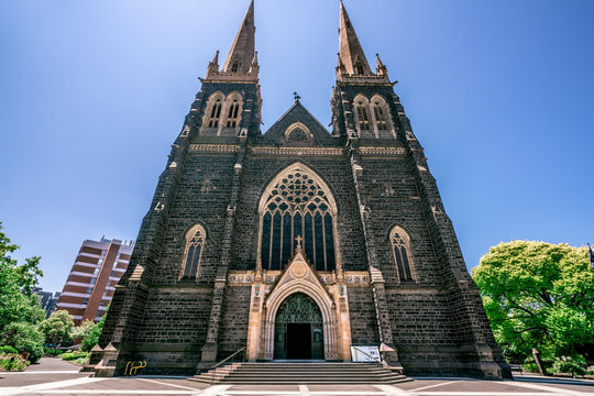 Front view of the facade of St Patrick's Cathedral a Roman Catholic Cathedral church in Melbourne Vic Australia