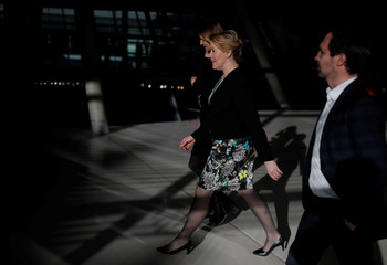 German Family Minister Franziska Giffey arrives for a faction meeting of German Social Democratic Party (SPD) at the Reichstag in Berlin