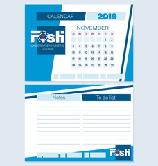 Calendar planner for November 2019. FISH. Underwater hunting. Set. Logo, month to make a list, notes. Planning life and business for the club of fans of underwater hunting, swimming, fishing.