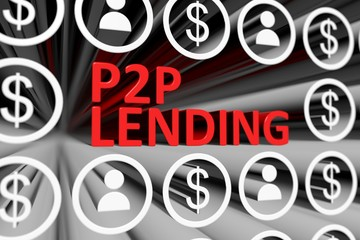 P2P LENDING concept blurred background 3d render illustration