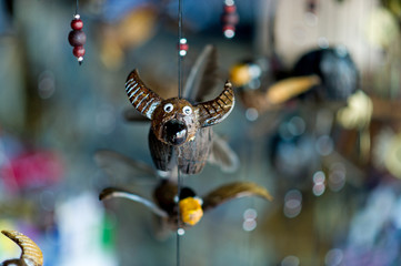 The picture of a buffalo made of wood is an ornament. Natural concept With copy space
