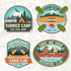 Set of canoe and kayak club badges Vector. Concept for patch, shirt, print or tee. Vintage design with mountain, river, american indian and kayaker silhouette. Extreme water sport kayak patches
