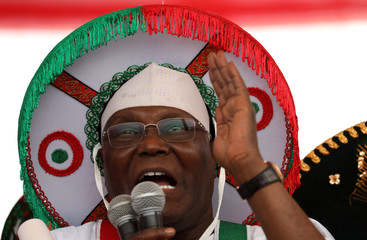 Nigeria's main opposition party presidential candidate Atiku Abubakar gestures as he speaks during a campaign rally in Lagos