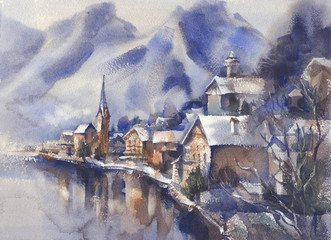 Winter mountains watercolor landscape with trees and the valley.