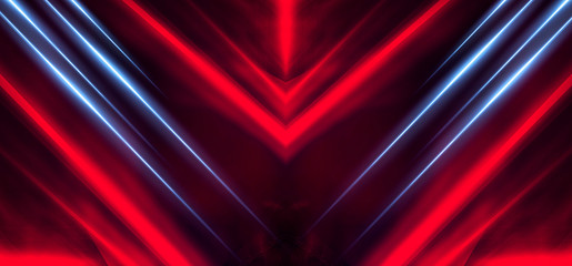 Background wall with neon lines and rays. Background of an empty dark corridor with neon light.