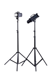 Photo studio lighting equipment. Two studio strobes isolated on white background, vertical image. Modern professional equipment for photographers.