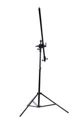 Lighting strobe stand on white background. Tripod light stand for studio strobe and lighting fixtures. Professional equipment for photographers.
