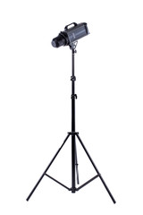 Professional studio flash isolated on white. Modern powerful photographic flash. Studio lighting, vertical image.